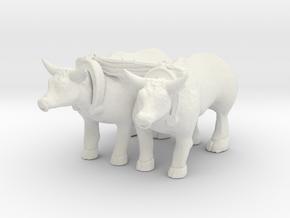 O Scale Oxen in White Natural Versatile Plastic