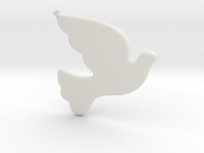 Bird-Dove-01 in White Natural Versatile Plastic