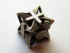 Fudge Pinwheel d6 in Polished Bronzed Silver Steel