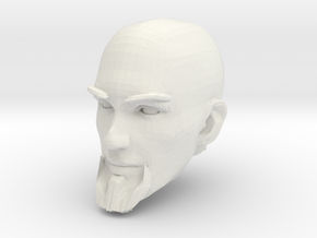 Bald Head with facial hair 2 in White Natural Versatile Plastic