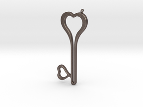 Heart Key Necklace-24 in Polished Bronzed-Silver Steel