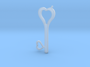 Hearts Key Necklace-25 in Smooth Fine Detail Plastic