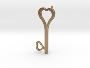 Hearts Key Necklace-25 in Polished Gold Steel