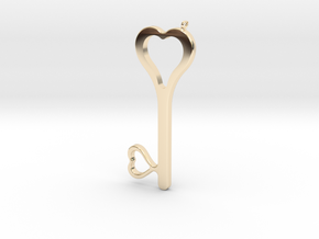 Hearts Key Necklace-25 in 14k Gold Plated Brass