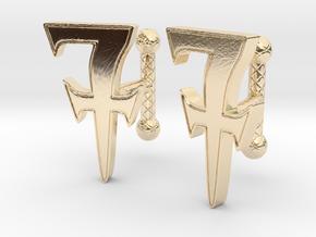 Monogrammed cufflink set in 14k Gold Plated Brass
