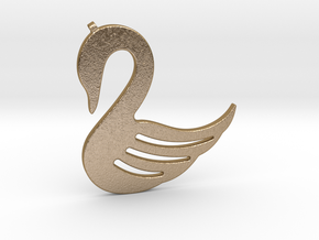 Swan Necklace-26 in Polished Gold Steel