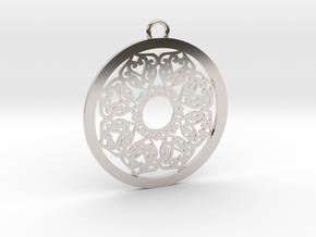 Ornamental pendant no.2 in Rhodium Plated Brass