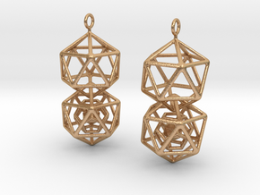 Icosahedron Dodecahedron Earrings in Natural Bronze (Interlocking Parts)