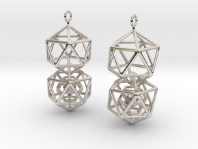Icosahedron Dodecahedron Earrings in Rhodium Plated Brass