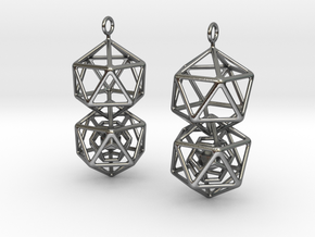 Icosahedron Dodecahedron Earrings in Polished Silver (Interlocking Parts)