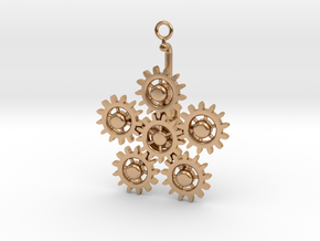 Planetary Gear Earring or pendant in Polished Bronze (Interlocking Parts)