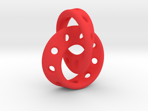 Möbius Band pendant interlocked in Red Processed Versatile Plastic