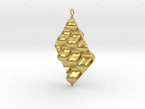 Sine Wave product Earring in Polished Brass
