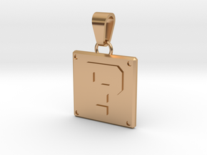 Super Mario Question Cube Pendant in Polished Bronze