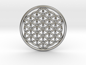 "Flower Of Life (no bale) 1.4""  in Natural Silver"