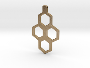Honeycomb Necklace-35 in Polished Gold Steel