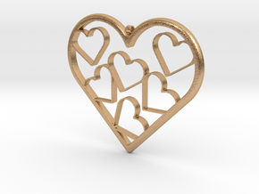 Hearts Necklace / Pendant-07 in Natural Bronze