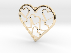 Hearts Necklace / Pendant-07 in 14k Gold Plated Brass