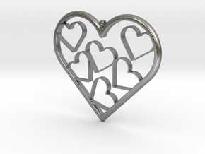 Hearts Necklace / Pendant-07 in Natural Silver