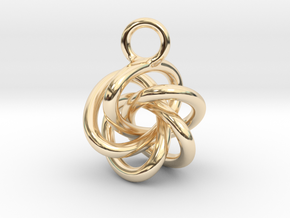 5-Knot Earring 15mm wide in 14k Gold Plated Brass