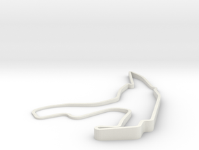 Spa Francorchamps in 3D with elevation in White Natural Versatile Plastic