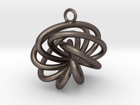 7-Knot Earring 20mm wide in Polished Bronzed-Silver Steel