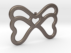 Butterfly Pendant / Necklace-21 in Polished Bronzed-Silver Steel