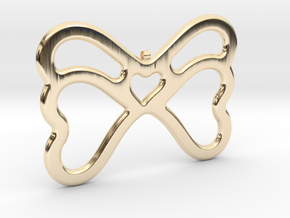 Butterfly Pendant / Necklace-21 in 14k Gold Plated Brass