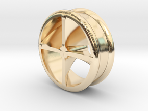 Stretcher : Tunnel with interior detail in 14K Yellow Gold
