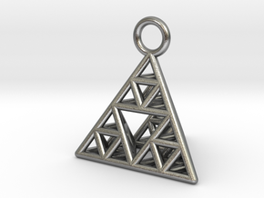 Sierpinski Tetrahedron earring with 16mm side in Natural Silver