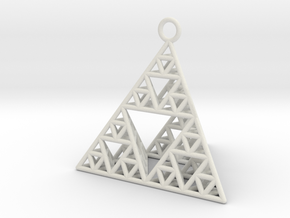 Sierpinski Tetrahedron earring with 32mm side in White Natural Versatile Plastic