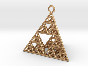 Sierpinski Tetrahedron earring with 32mm side in Natural Bronze