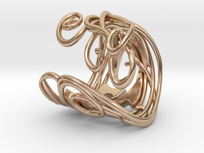Ring Art déco Style in 14k Rose Gold Plated Brass: 8 / 56.75