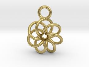 Torus Knot Earring 7 knots in Natural Brass