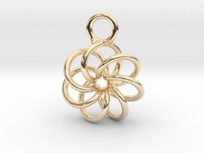 Torus Knot Earring 7 knots in 14k Gold Plated Brass
