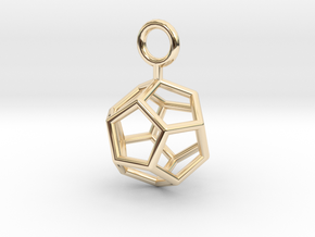Simple Dodecahedron earring in 14K Yellow Gold