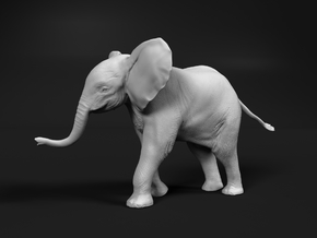African Bush Elephant 1:35 Running Male Calf in White Natural Versatile Plastic