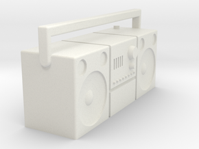 1/16 Radio cassette player, old type  in White Natural Versatile Plastic