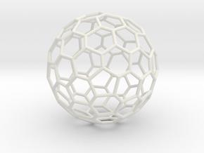 Goldberg polyhedron GP(2, 1) in White Natural Versatile Plastic: Large