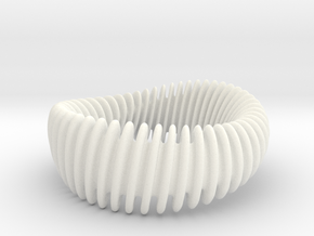 WAVE_012 reduce SMOOTH-Twist Wide Bracelet in White Processed Versatile Plastic