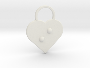 """i"" Braille Heart in White Natural Versatile Plastic"