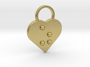 """z"" Braille Heart in Natural Brass"