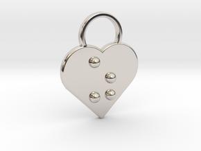 """""""z"""" Braille Heart in Rhodium Plated Brass"""