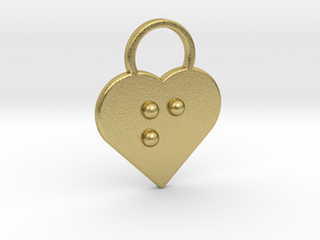 """""""f"""" Braille Heart in Natural Brass"""