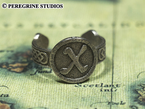 Ring - Gebo Rune (Size 13) in Polished Bronzed Silver Steel