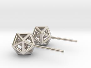Simple Icosahedron Earring studs in Platinum