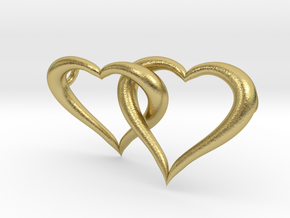 Interconnected Hearts Necklace in Natural Brass (Interlocking Parts)