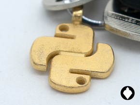Python Keychain in Polished Gold Steel: Small