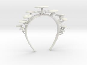 Baby Oyster Mushrooms Headband in White Natural Versatile Plastic: Medium