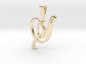 INITIAL PENDANT S in 14k Gold Plated Brass